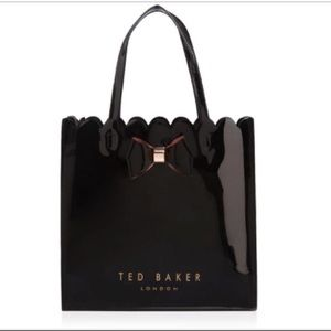 Ted Baker Black Patent Scalloped Tote Bow Detail